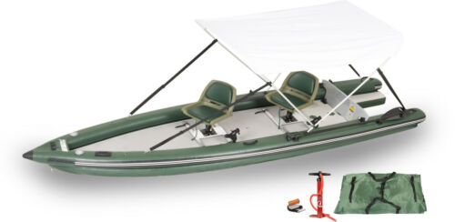 Sea Eagle FSK16 2-Person Swivel Seat Canopy Pkg Fish Skiff Inflatable Boat -BO!