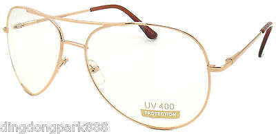 WHOLESALE LOT OF 12 GOLD CLEAR LENS AVIATOR PILOT WIRE COP FRAME SUNGLASSES Clothing, Shoes & Accessories