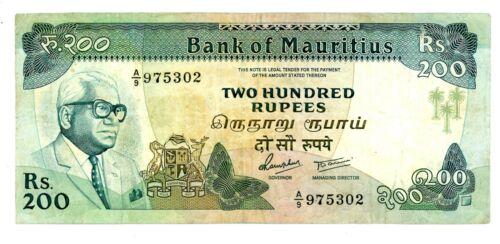 Mauritius … P-39b … 200 Rupees … ND(1985) ... ch*VF*.  Prefix A/9.