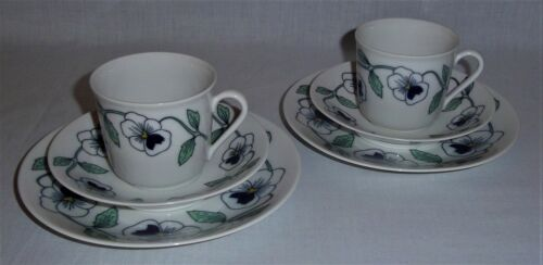 TWO COFFEE CUPS w saucers + small plates SYLVIA - RORSTRAND - SYLVIA LEUCHOVIUS