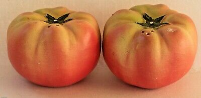 VINTAGE **TOMATO** PORCELAIN  BISQUE SALT AND PEPPER SHAKERS ~ GREAT