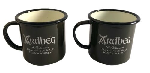 Set of 2 Ardbeg Scotland Scotch Whiskey Liquor Dark Green Mugs Metal Enamel Cups
