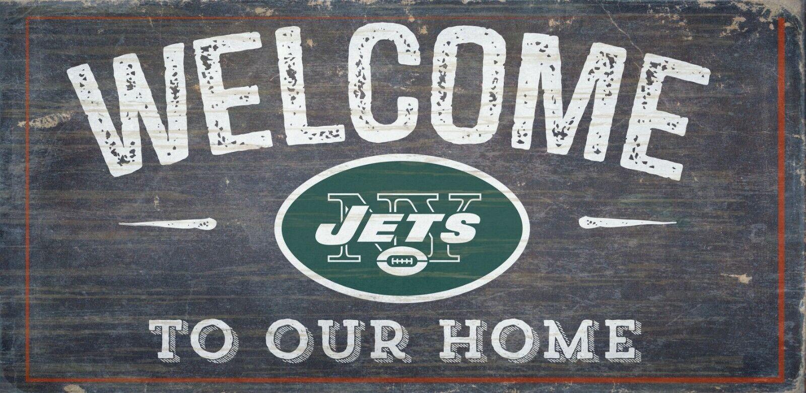 New York Jets Welcome Sich Unser Heim Holz-Schild - Ny Neu 30.5cm x 15.2cm Deko
