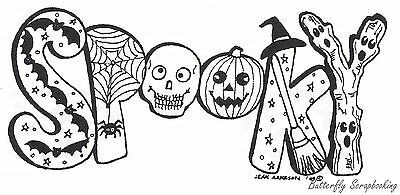 HALLOWEEN Spooky Letters With Bats Wood Mounted Rubber Stamp NORTHWOODS O7020