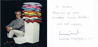 """Luciano Benetton 1935- genuine autograph verso signed 5""""x5"""" photo Fashion"""
