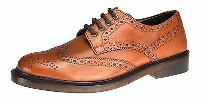 Benchgrade 1920 Mens Tan Brown All Leather Handmade Welted Brogue Lace Up Shoes - Mens 1920 Shoes