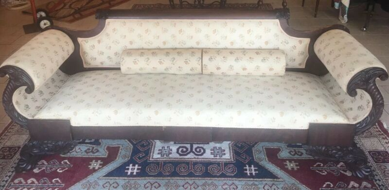 ANTIQUE VICTORIAN Regency EMPIRE PAW FOOT SOFA SETTEE COUCH Mahogany 1800's