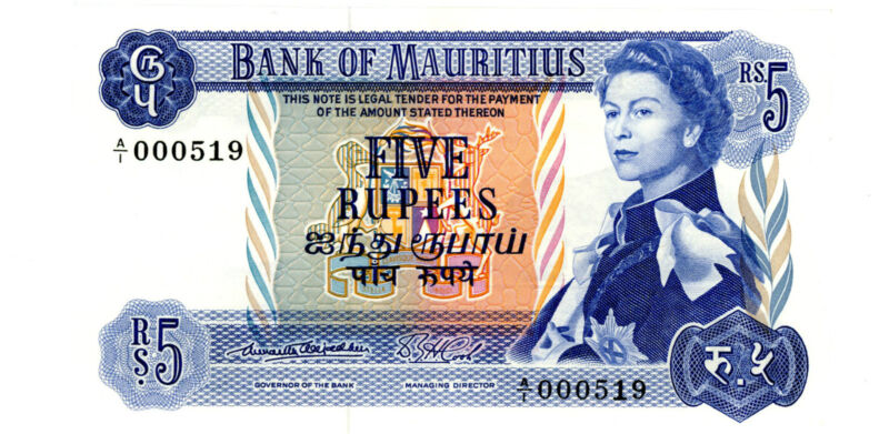 Mauritius .. P-30a .. 5 Rupees .. ND(1967) .. *UNC*-Sign #1-Low serial #