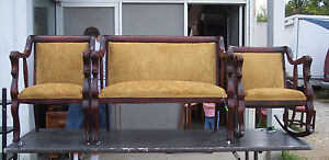 Mahogany-Empire-Lion-Carved-Parlor-Set-Settee-Chair