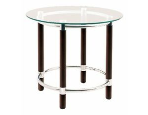 Table d 39 appoint ronde table basse verre s curit structure chocolat chrom - Verre securit pour table ...