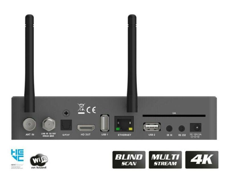 Edision OS Mio 4K UHD HEVC H.265 Satellite FTA Receiver DVB-S2X Linux E2 Grey
