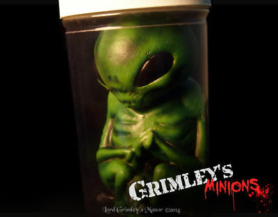 Green Alien Embryo Specimen in a Jar Latex Prop Horror Roswell UFO ET Sci-fi