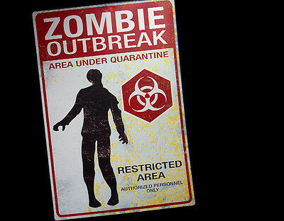 Metal Zombie Outbreak Warning Sign Halloween Decoration Haunted House