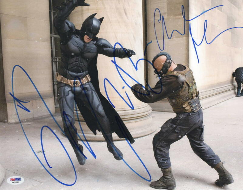 CHRISTIAN BALE TOM HARDY SIGNED 11X14 PHOTO THE DARK KNIGHT RISES AUTOGRAPH PSA