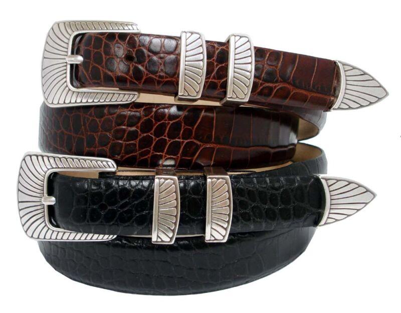 "The Nevada - Italian Calfskin Leather Dress Belt 1-1/8"" Wide, Black Brown Tan"