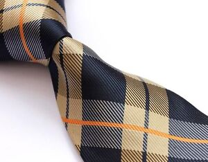 SALE Original Scottish TARTAN ★ Champagne Gold Royal Blue Navy ★ Mens Tie Orange