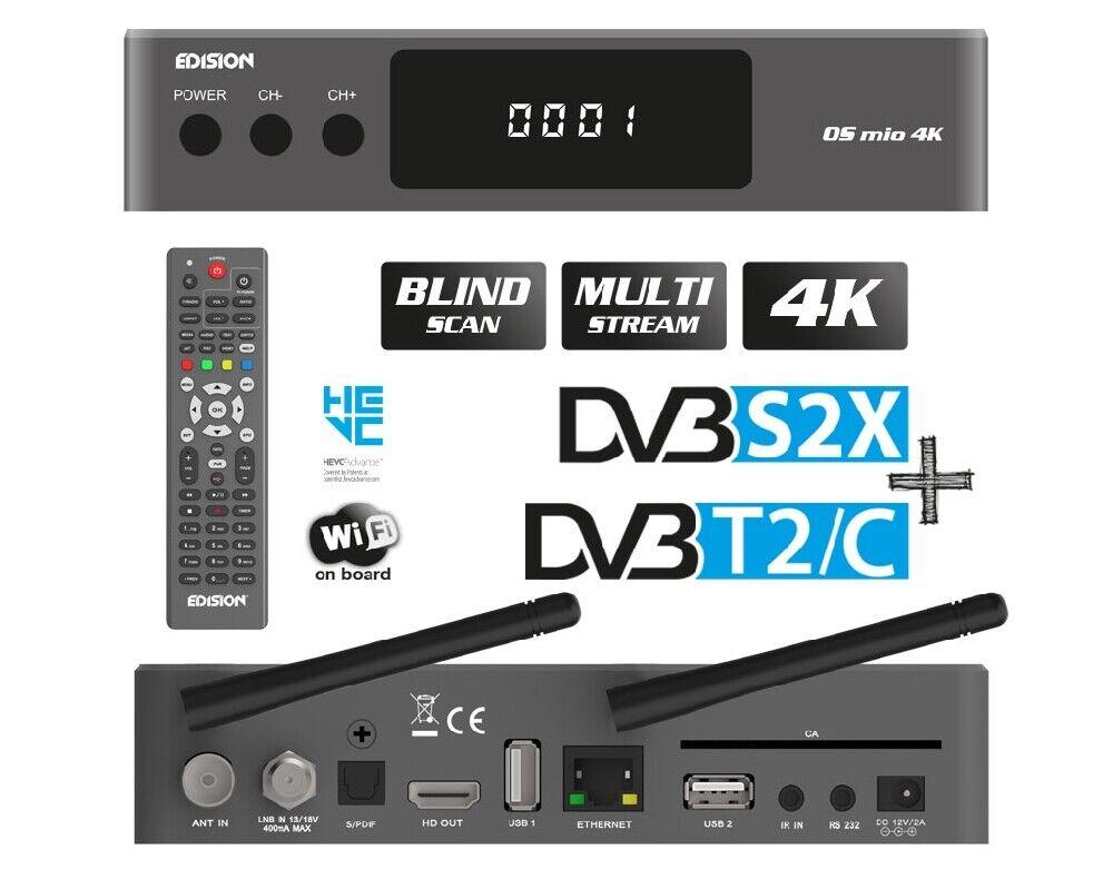 Edision OS Mio 4K UHD HEVC h 265 Satellite FTA Receiver DVB-S2X Linux E2  Grey