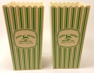 """2 John Deere Collectibles Moline ILL Model """"A"""" Tractor Movie Popcorn cups"""