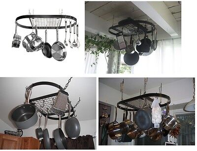 Classic Wrought Iron Oval Pot Rack, Over Ceiling Mount Hanging Pot And Pans Rack Chrome Oval Pot Rack