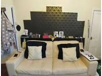 Cream leather DFS sofa