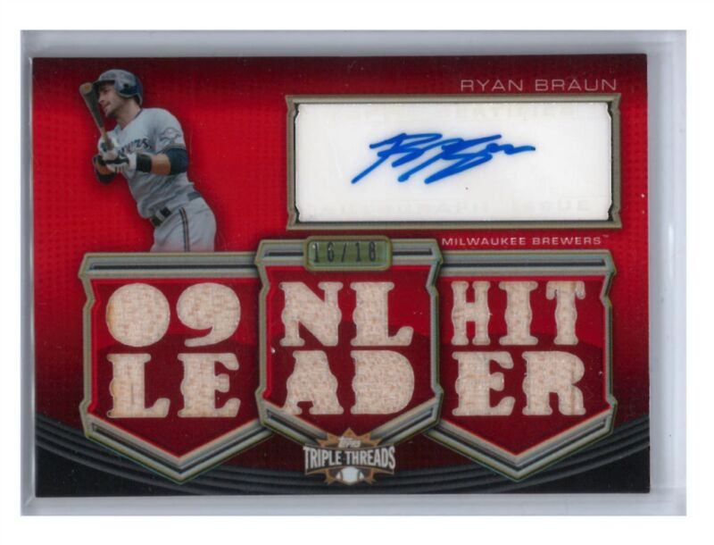 2010 Ryan Braun Topps Triple Threads feat. Game Used Bat w/ Autograph (16/18)