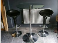 Debenhams glass breakfast table and stools