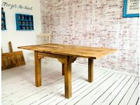 Modern Rustic Extending Farmhouse Dining Table to Seat Eight People - Contemporary Square Leg