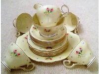 Queen Anne Fine Bone China:20 Piece Tea Set Yellow Small Rose & Blue Bud Design/Collectors/Picnic