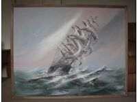 """Oil paint on canvas picture of the """"Sailing Boat"""" by Lee Raynolds professionally framed."""
