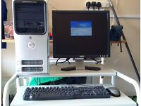 For sale.Dell 5051 tower PC,LCD monitor,keyboard,mouse, sound system ,desk and chair