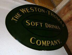 Vintage painted advertising drinks sign