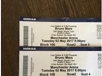 2X Bruno Mars tickets Manchester arena 2nd May 2017