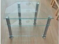 Details about CORNER TV UNIT WITH 3x GLASS SHELVES & SILVER FINISH LEGS 75cm x 56cm x 46cm