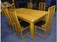 New solid oak table & 6 chairs