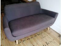 Retro Blue Grey Sofa - Made. com style - Compact 2 to 3 Seater