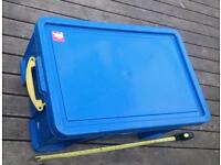 Big, heavy duty, plastic storage trunk with clip on lid and dividers.