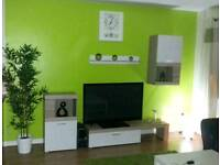 Fish Tank , Tv Cabinets, 32inch Samsung Tv, Wall Art , Curtains ,Lime Rug