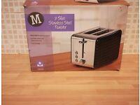 2 slice stainless steel toaster black colour new unused