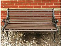 Double Seater Garden Bench / Chair / Seat Wooden Slat Frame & Ornate Cast Iron Ends Garden Furniture