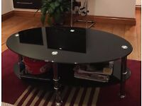 Glass coffee table - Black - Oval