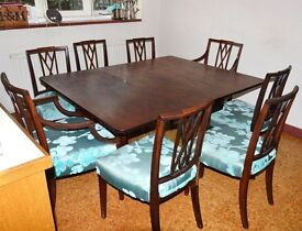 SET OF 8 ANTIQUE DINING CHAIRS DESIGNERS GUILD FABRIC