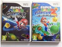 Super Mario Galaxy 1 + 2 Nintendo Wii Games Bundle - Great Fun Game for Kids Children - Like New