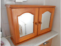 Pine Bathroom Cabinet with Mirror Doors