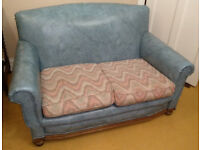 Antique 3 piece suite, wing chair, arm chair, sofa, solid oak frame, good condition