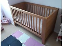 Mamas and Papas Oak Cot bed and Changing unit for sale.