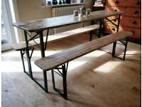 Vintage German beer festival trestle table. Kitchen table, garden table, dining table