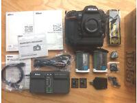 Nikon D5 DSLR Camera Body, extra Battery, two 64GB Lexar XQD Cards