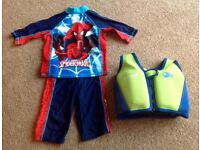 Boys Spider-Man Swimming Set & Float Vest 2-3 Years