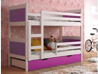 New KIDS / CHILDREN / TODDLER / JUNIOR / BUNK BED / WITH MATTRESS AND DRAWERS 190 x 85
