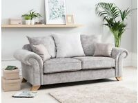 Brand new Ava silver crushed velvet sofa**Free delivery**